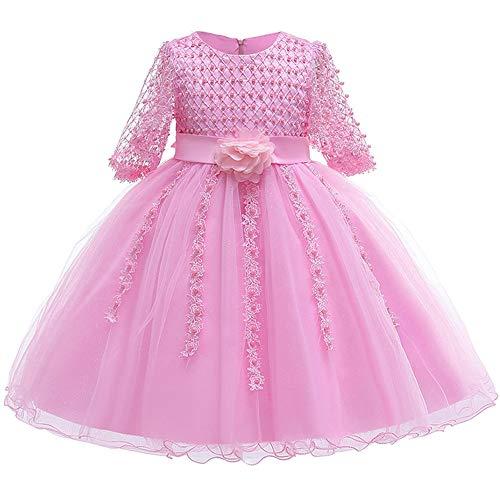 Myosotis510 Girls' Lace Princess Wedding Baptism Dress Long Sleeve Formal Party Wear for Toddler Baby Girl (7-8 Years, Pearls Pink)