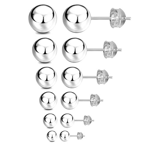 JADENOVA S925 Sterling Silver Round Ball Stud Earrings for Women Men, 3mm-8mm (6 Pairs/Set Assorted Sizes) 8mm Ball Stud Earrings