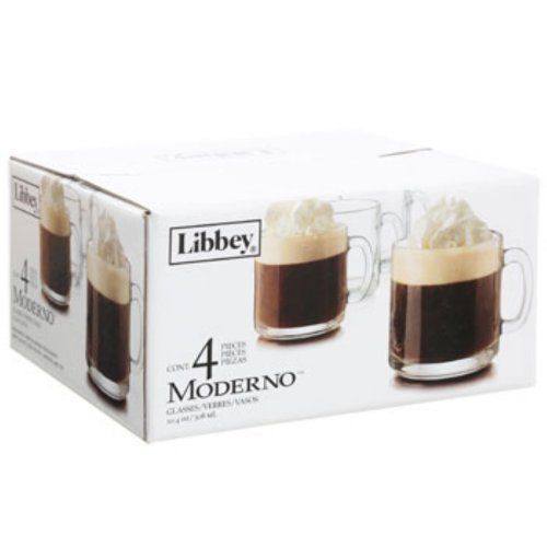 Libbey Moderno 10.4-oz. Clear Glass Cafe Mugs 4 Count Hot Beverage Coffee, Hot Chocolate, Irish Coffee