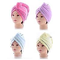 King's deal 4Packs Hair Turban Microfiber Hair Drying Towel Bath Head Wrap Turban Quick Dry Hat Cap NEW