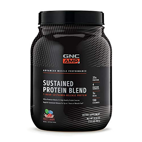 GNC AMP Sustained Protein Blend - Fruity Crisps, 2.04 lbs, High-Quality Protein Powder for Muscle Fuel