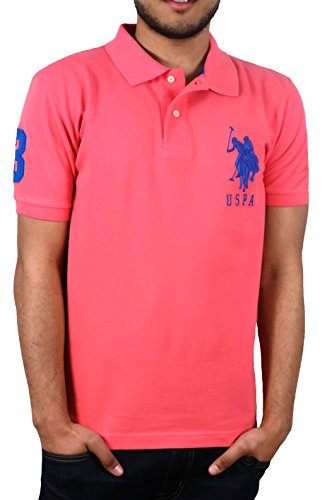 U.S. Polo Assn. Men's Solid Short Sleeve Pique Polo, Baker Pink Riviera, Large