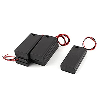 5 Pcs Battery Box Holder w Cap On/Off Switch for 2x1.5V AA Batteries from uxcell