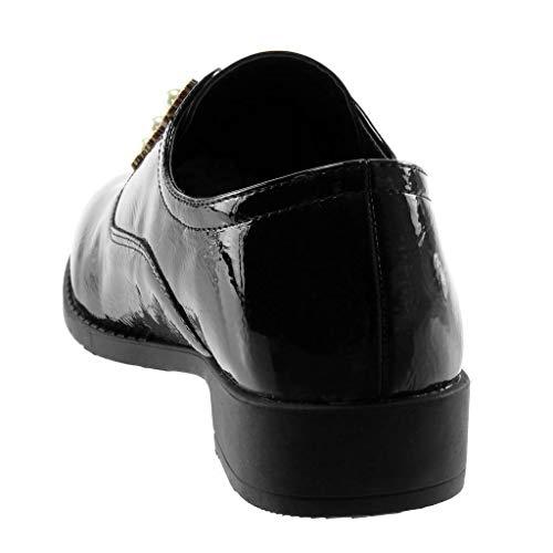 Nero Perla on Donna Scarpe Moda Angkorly Tacco Scarpa Derby Blocco Slip 3 Elegante Cm Stile A Strass Vintage Verniciato F1UwPXq