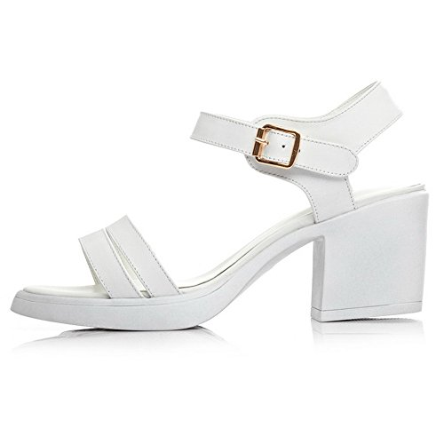Amoonyfashion Mujeres Kitten Heels Soft Material Sólido Hebilla Open Toe Sandals Blanco