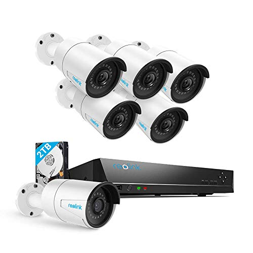 Security Camera System PoE 4K 8 Channel NVR Kit, with 6pcs Bullet 5MP PoE Cameras, 2TB Hard Drive Included for...