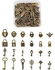 Cheriswelry Sleutelhangertjes Tibetaanse vintage skelet sleutelhangslot bedels voor sieraden ambachtelijke maken