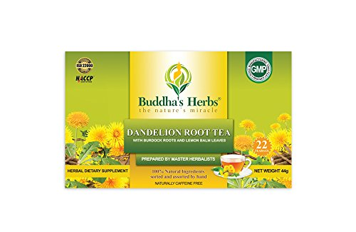 Buddha's Herbs 100% Natural Dandelion Root Tea with Burdock Roots - Caffeine Free - Pack of Two (44 Tea Bags)