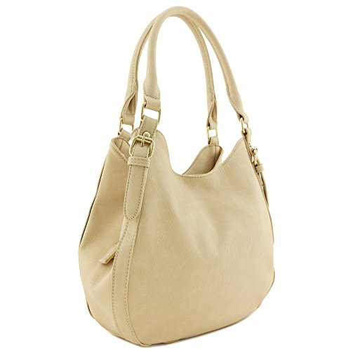 Light-weight 3 Compartment Faux Leather Medium Hobo Bag (Beige) by FashionPuzzle