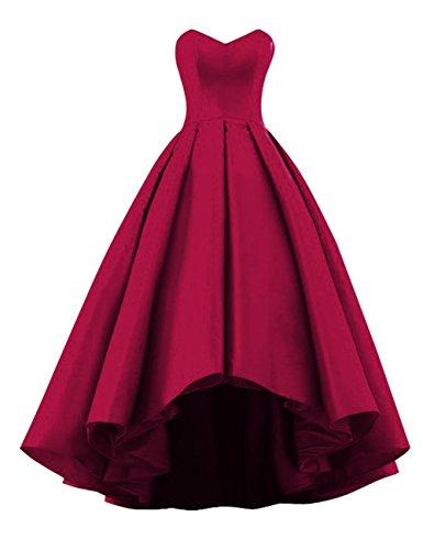 Fluorodine Women Sweetheart Short Front Long Back A Line High Low Prom Dress US32W Burgundy (Prom Corset Dress)