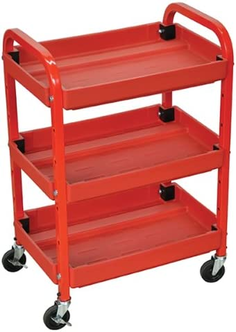 Luxor Compact Adjustable Height Three Shelves Multimedia Utility Cart
