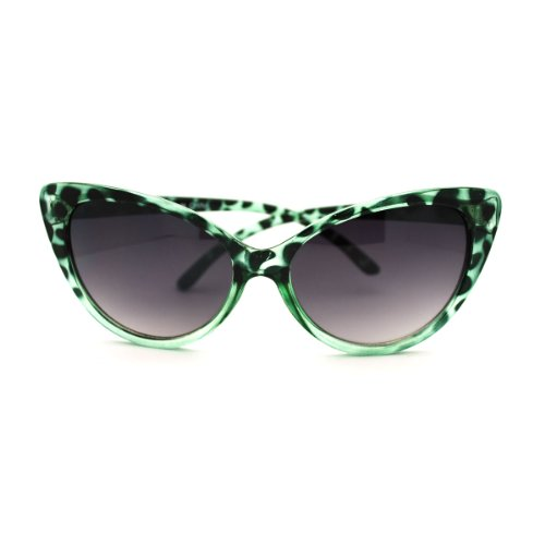 Black Rhinestone Cat Eye Sunglasses Dark Lens 80351RS (Green Tortoise, - Glasses Green Cat Eye