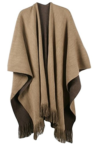 VamJump Women Winter Knitted Cashmere Poncho Cape Shawl