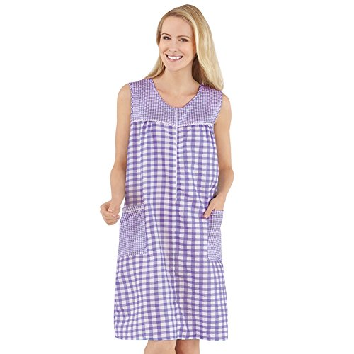 Women's Half-Zip Front Sleeveless Pocket Dress with Checkered Pattern Design, Comfortable Loungewear for Around The House, Lavender, Xx-Large