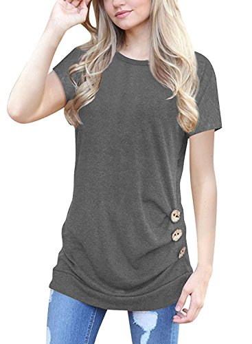 - MOLERANI Women's Casual Short Sleeve Round Neck Loose Tunic T Shirt Blouse Tops (2XL, Short Sleeve Grey)