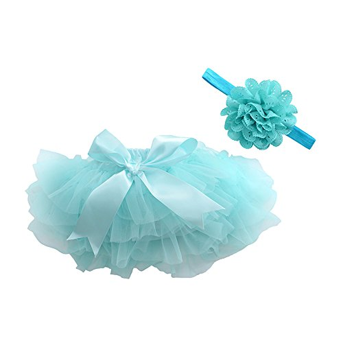muyan Girls Cotton Tulle Ruffle with Bow Baby Bloomer Diaper Cover and Headband Set (Blue, Newborn-S(0-3Month))