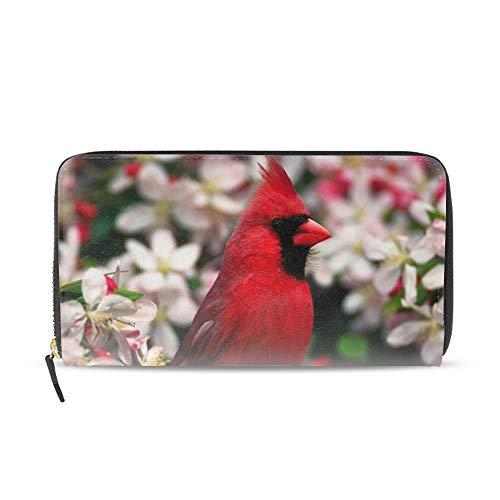 Women Zipper Wristlet Wallet Cardinal Bird Clutch Purse Phone Credit Card Holder
