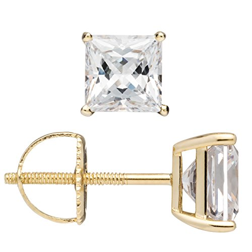 Everyday Elegance | 14K Solid Yellow Gold Stud Earrings | Princess Cut Cubic Zirconia | Screw Back Posts | 3.0 ctw | With Gift Box by Everyday Elegance Jewelry