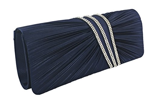 AITING Womens Satin Diamante Pleated Evening Clutch Bag Bridal Handbag Prom Purse (Navy Blue-1)