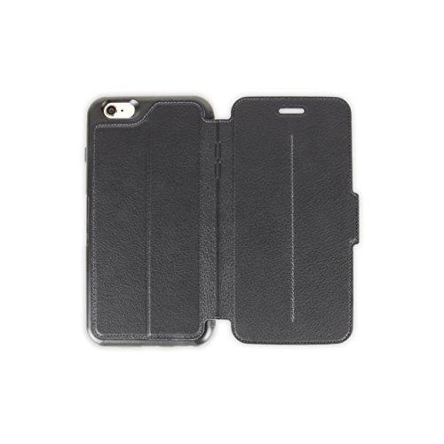 OtterBox STRADA SERIES Leather Wallet Case for iPhone 6 Plus/6S Plus - Retail Packaging - NEW MINIMALISM (BLACK/DARK GREY/BLACK - Strada Series