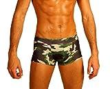 Men's New Green Camouflage Print Hot Body Boxer Swimsuit Gary Majdell Sport Large