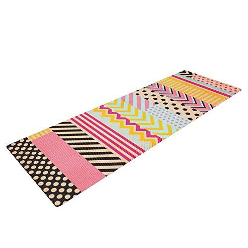 Kess InHouse Louise Machado Decorative Tape Yoga Exercise Mat, Red/Orange, 72 x 24-Inch