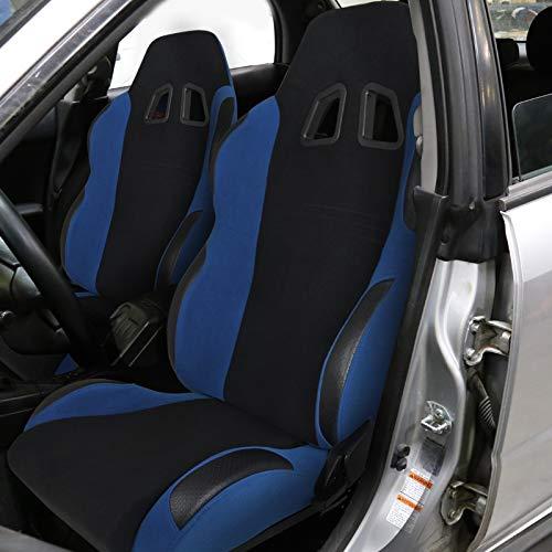 [L+R] Black/Light Blue Fabric Cloth Reclinable Sport Racing Seats w/Sliders