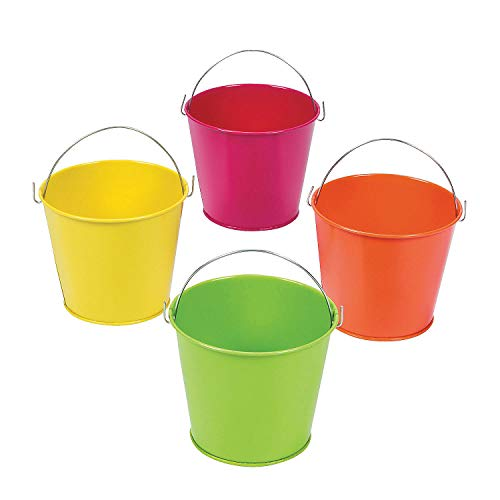 Fun Express - Neon Tinplate Pails (12 Pc) - Party Supplies - Containers & Boxes - Metal Containers - 12 Pieces