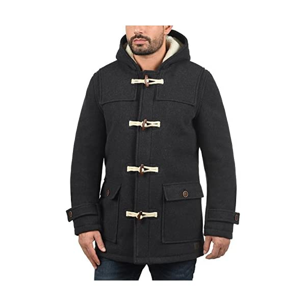 CuteRose Men Lined Fall Winter Single Breasted Trench Coat With Hood