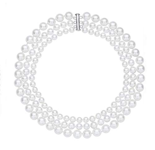 (Rakumi Triple-Row 6-10mm White Seashell Pearl Necklace 18