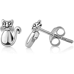 925 Sterling Silver Tiny Little Funny Cat Kitty Kitten Pet Lover 9 mm Post Stud Earrings