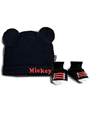 Mickey Mouse Hat And Booties
