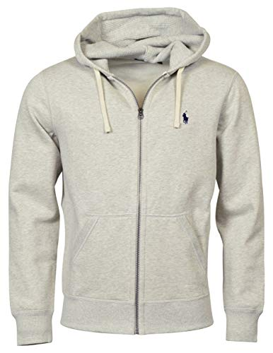 Ralph Lauren Polo Classic Full-Zip Fleece Hooded Sweatshirt (X-Large, Heather Gray/Navy Logo)