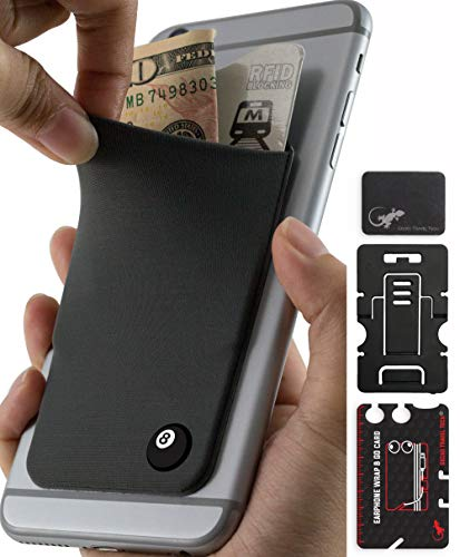 Phone Wallet - Adhesive Card Holder - Cell Phone Pouch - Stick on Lycra Pocket by Gecko - Carry Credit Cards and Cash - 8 Ball