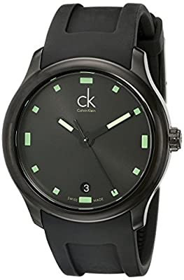 Calvin Klein Men's K2V214DX 'Visible' Black/Green Dial Black Rubber Strap Swiss Quartz Watch
