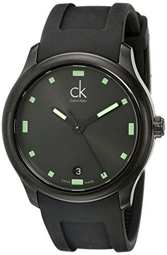 - Calvin Klein Men's K2V214DX 'Visible' Black/Green Dial Black Rubber Strap Swiss Quartz Watch