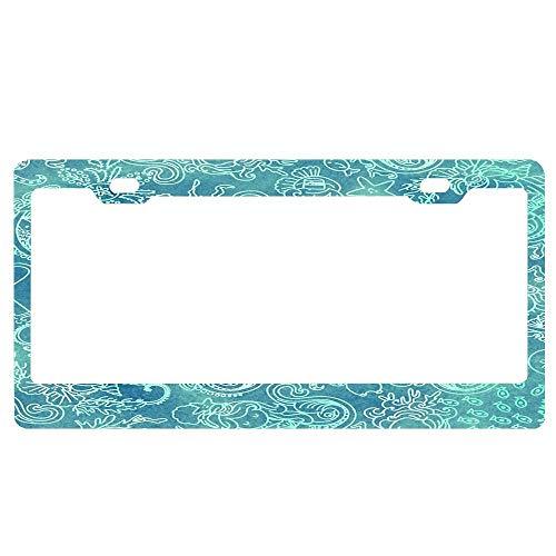 ASLGlicenseplateframeFG Batik Mermaid Paisley_Mint Custom Metal License Plate Frame Tag Holder Aluminum Funny Stylish