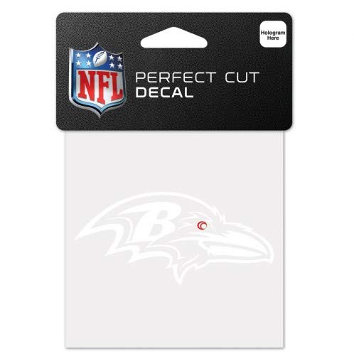 (WinCraft NFL Baltimore Ravens 4x4 Perfect Cut White Decal, One Size, Team Color)