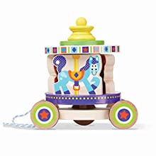 Melissa & Doug First Play Spinning Carousel Wooden Pull Toy with Removable Play Piece, Multicolor