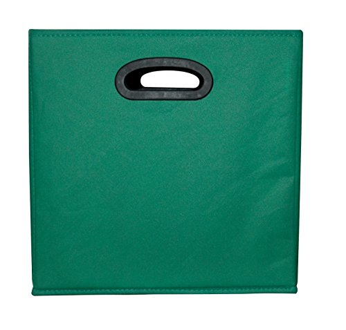 School Smart 1475344 Collapsible Storage Bin with Oval Grommet, Fabric, Green/Black