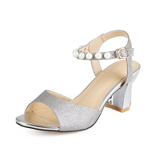 AmoonyFashion Womens Kitten Heels Soft Material Solid Buckle Open Toe Sandals with Bead Silver 4bAI0y44p