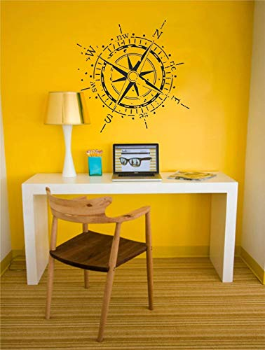 Compass Rose Wall Decal | Beautiful vintage nautical vinyl sticker decor wall art for office, bedroom, living room, classroom - Removable decor