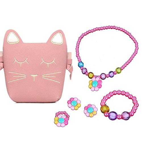 Little Girls Pink Cute Cat Crossbody Bag Necklace Earrings Ring Bracelet Kids Toddler (Colored Flower) ()