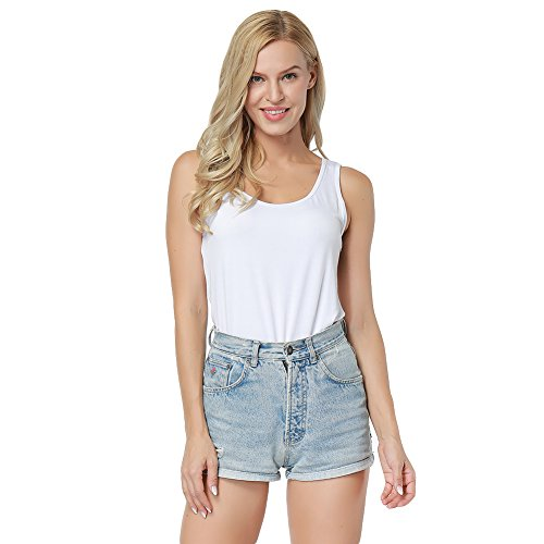 38ff6314263b3 YUMDO Women s Fitted Bamboo Tee Sleeveless Organic Skinny Tank Top  Shapewear Shirt