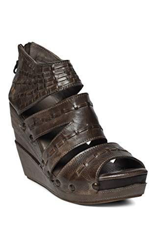 Bed|Stu Women's Jacey Leather Wedge (7 M US, Taupe Dip - Inch Stacked Platform 4.5