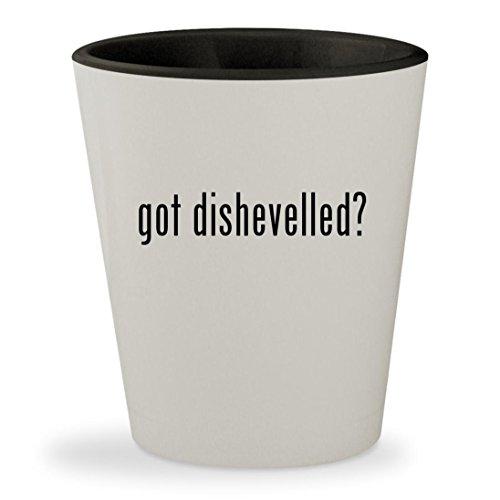 got dishevelled? - White Outer & Black Inner Ceramic 1.5oz Shot Glass