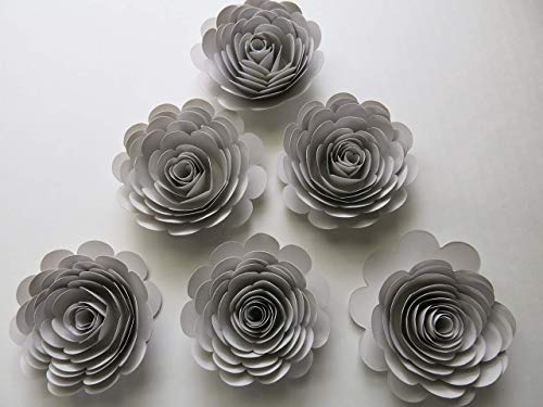 Light Grey Roses, 3 Inches Paper Flowers, Set of 6 Wedding Cardstock Flowers, Gray Bridal Shower Decor, Minimalist Party Decor