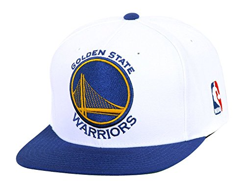 Golden State Warriors White/Blue Mitchell & Ness XL Logo Snapback Hat / Cap