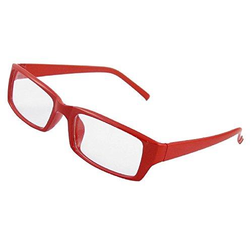 TOOGOO(R) Clear Rectangular Lens Red Plastic Full Rim Spectacles for Lady