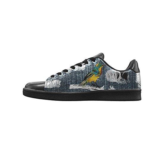 D-story Jeans Med Revor Fågel Action Läder Mens Låga Top Sneakers